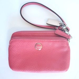 Coach Poppy Pink Leather Small Wristlet Clutch